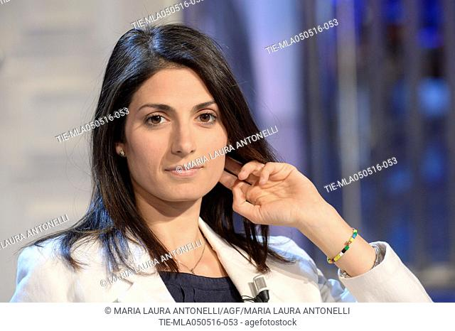 Virginia Raggi Five Star Movement, Mayoral candidate for Rome at tv programme Porta a porta, Rome, ITALY-04-05-2016