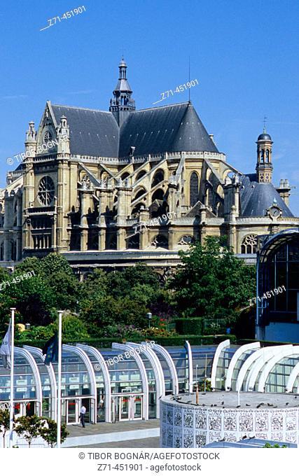 Forum des Halles commercial centre and St. Eustache church, Paris. France