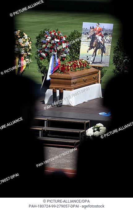 24 July 2018, Germany, Warendorf: The coffin of the late Hans Guenter Winkler is in the stadium of the sports school of the German Federal Defence