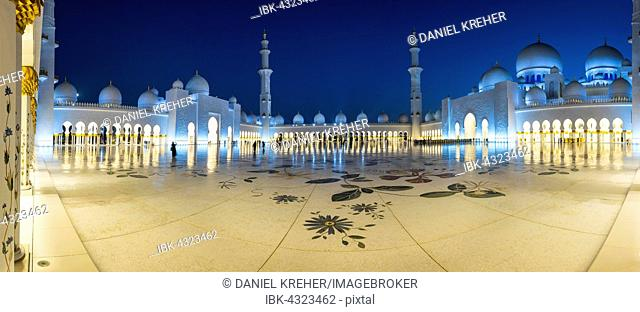 Courtyard of the Sheikh Zayed Mosque, Sheikh Zayed Grand Mosque, Abu Dhabi, Emirate of Abu Dhabi, United Arab Emirates