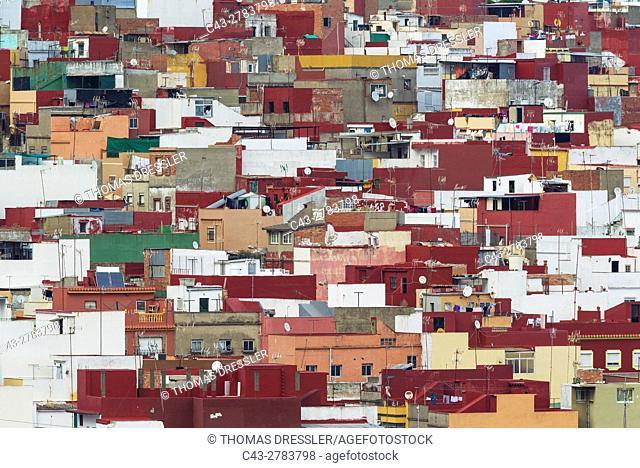 Colourful popular quarter in Algeciras. Cadiz province, Andalusia, Spain