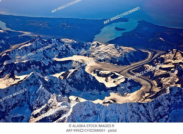 Aerial view of Coastal Mountains and glaciers north of Juneau, Southeast Alaska, Summer
