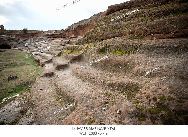 Rock cut tiers, Celtiberian settlement of Tiermes, Montejo de Tiermes, Soria province, Castilla-Leon, Spain