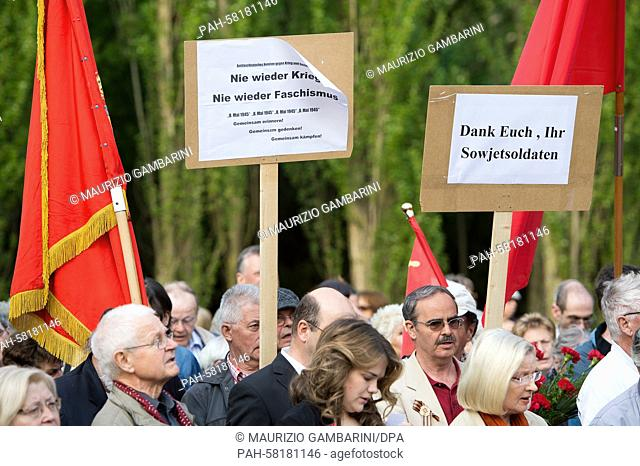 People gather at the Soviet Memorial in Treptower Park for the rally 'Tag der Befreiung vom Faschismus'(Day of liberation from fascism), Berlin, 8 May 2015