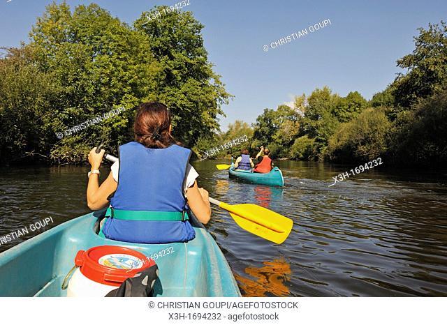 canoe trip on the Dore river, Livradois-Forez Regional Nature Park, Puy-de Dome department, Auvergne region, France, Europe