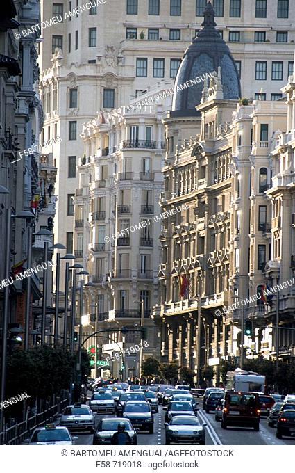 Gran Via, a busy avenue in Madrid, Spain