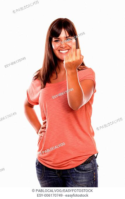 Female giving you the finger with false smiling on isolated background