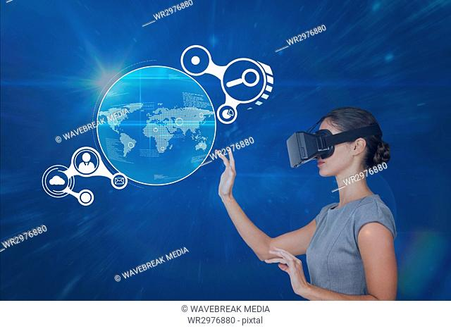 Woman in VR headset touching interface against blue background with flares