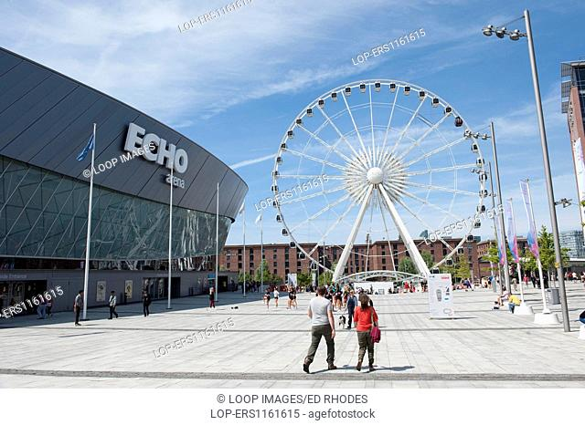 The Liverpool Echo Arena and ferris wheel and Albert Dock