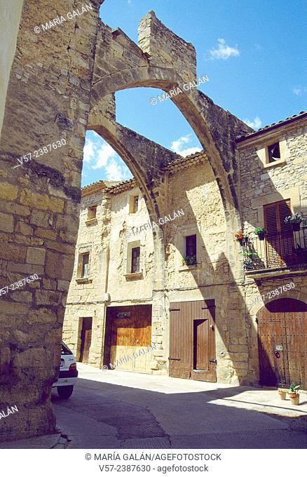 Medieval arches. Vallbona de les Monges, Lerida province, Catalonia, Spain
