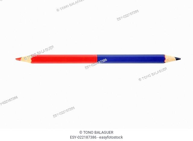 Blue and red double color pencil
