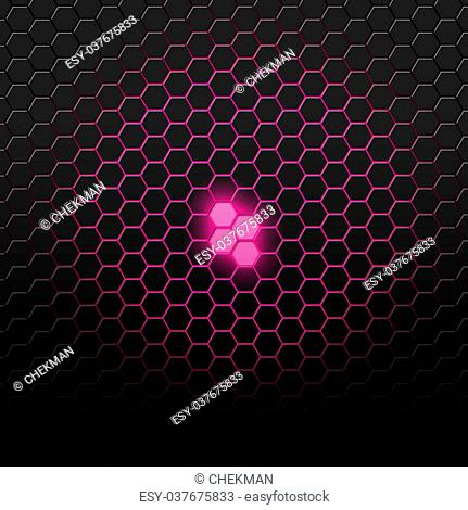 Purple carbon pattern with hexagons. Abstract bright background of the small hexagons