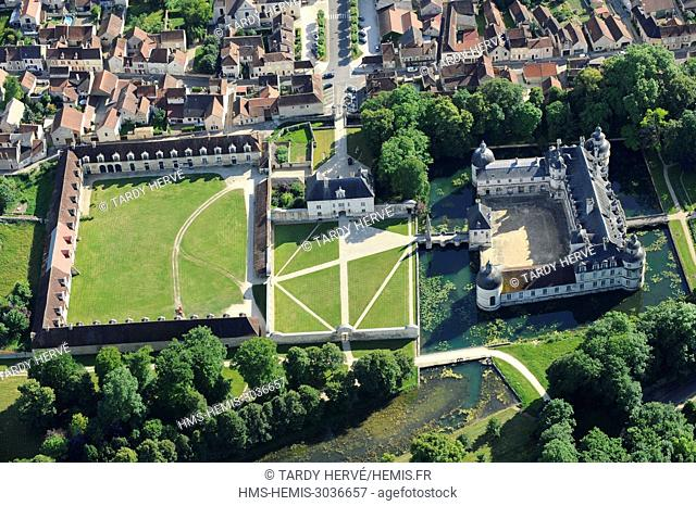 France, Yonne, the castle of Tanlay (aerial view)