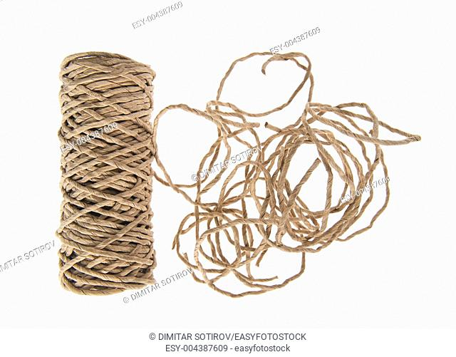Roll of paper twine isolated on white background