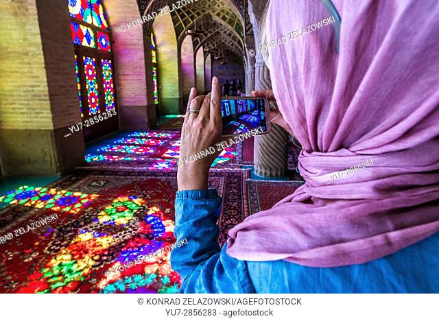 Interior of Pink Mosque (Nasir ol Molk Mosque) in Gowad-e-Araban district of Shiraz city, capital of Fars Province in Iran