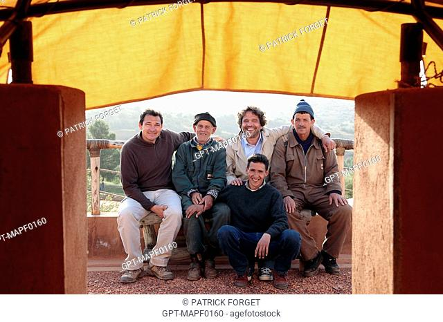 JEAN-MARTIN HERBECQ, FOUNDER AND DIRECTOR OF THE TERRES D'AMANAR NATURE PARK, WITH MEMBERS OF HIS TEAM, TAHANAOUTE, AL HAOUZ, MOROCCO