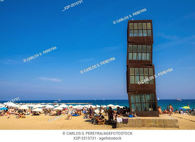 "Sculpture """"L'estel ferit"""" ( The wounded star ) by Rebecca Horn at Barceloneta beach, 1992. Barcelona, Catalonia, Spain"