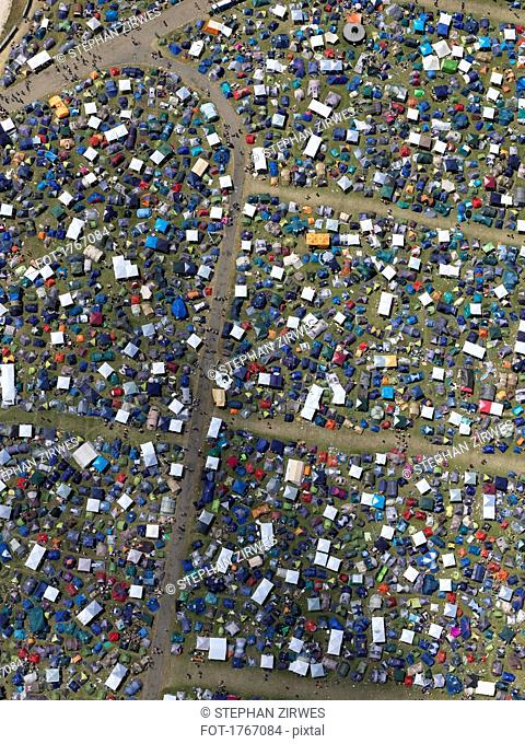 Aerial view of sunny Southside Festival, Neuhausen ob Eck, Baden-Wuerttemberg, Germany