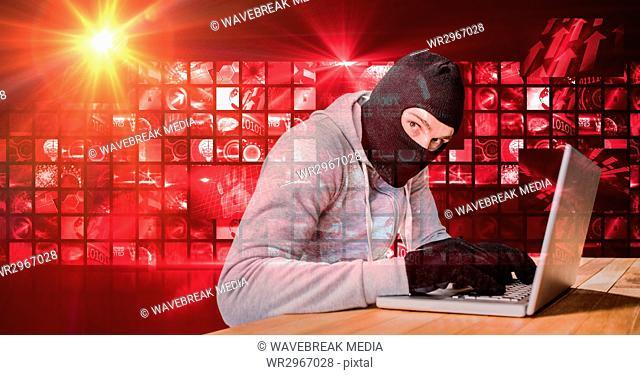 Housebreaker typing on laptop in front of red digital screen