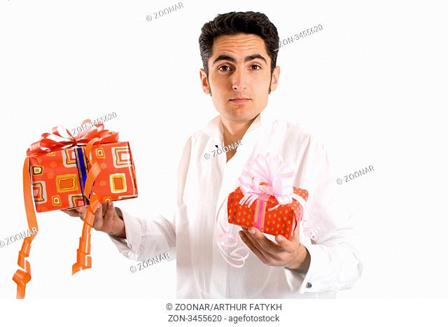 Portrait of glamour man with present. Isolated on white background