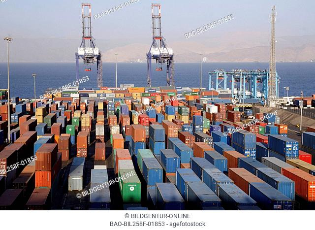 The container terminal outside from centre of Aqaba in the Red Sea in the south of Jordan in Arabia