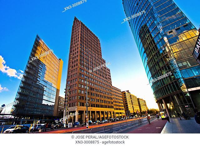 Daimler Chrysler buiding, Kollhoff Tower, Bahn Tower, Sony Center, Potsdam Square, Potsdamer Platz, Tiergarten district, Mitte, Berlin, Germany, Europe