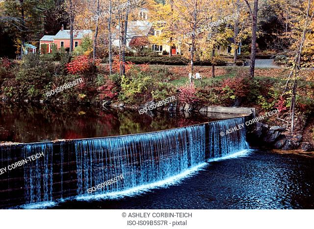 Rural village with waterfall, Guilford, Vermont, USA