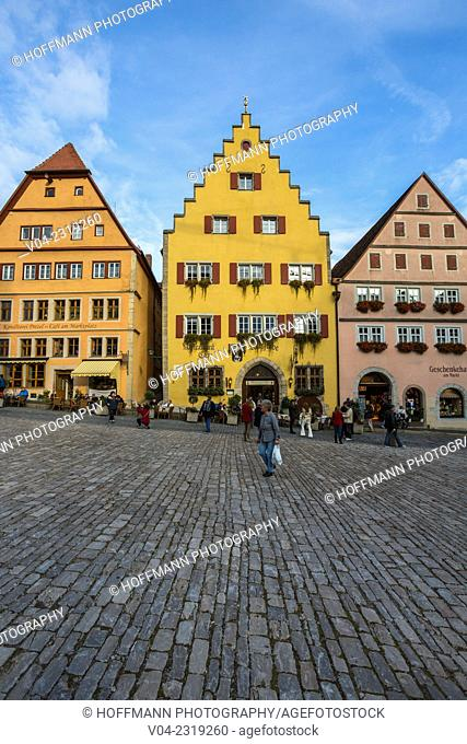 Beautiful timbered houses at the market square in Rothenburg ob der Tauber, Bavaria, Germany, Europe