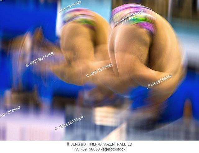 Polish divers Andrzej Rzeszutek and Kacper Lesiak in the men's 3 meter synchronised final in the European Diving Championships at the Neptunschwimmhalle in...