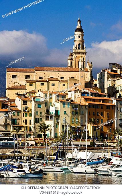 Marina and old town with bell tower of Menton, Provence, France, Europe