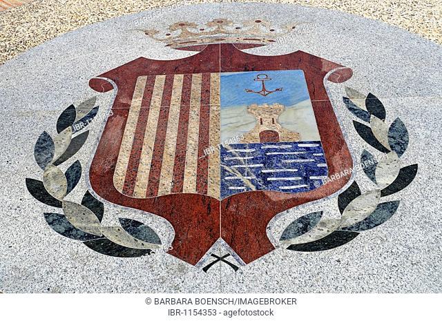 Coat of arms, Castillo Fortaleza, castle, fortress, cultural center, museum, Santa Pola, Alicante, Costa Blanca, Spain, Europe