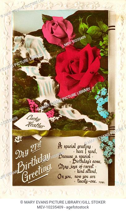 A 21st birthday card showing a waterfall, pink and red roses, lucky heather and forget-me-nots