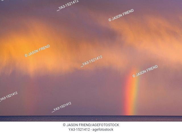 Scotland, Scottish Borders, Burnmouth  Rainbow above the north sea, photographed just before sunset