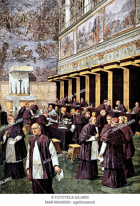 CHIESA Il Conclave del 1903, durante il quale fu eletto Pio X. Tavola di A. Beltrame per la Domenica del Corriere, 1903,,Copyright © Fototeca Gilardi