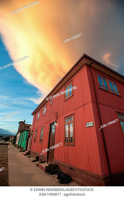 Town buildings, station in Punta Arenas Chile