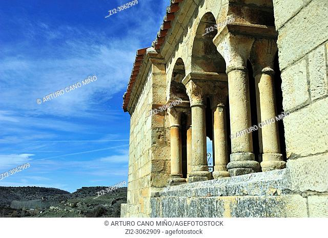 The Romanesque porticoed gallery, XIIth century at the church of Saint Peter. Abánades town, Guadalajara province, Spain