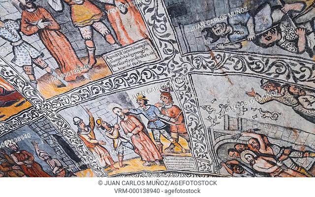 Paintings in shrine of San Bernabe in Ojo Guarena Natural Monument
