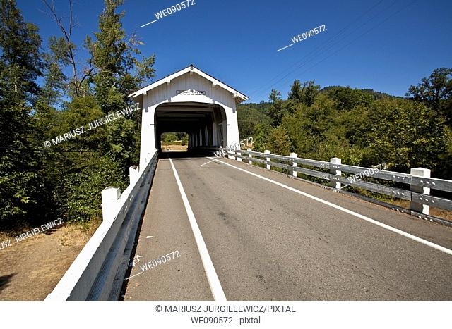 Grave Creek covered span at Sunny Valley, about 15 miles north of Grants Pass, can be seen by motorists traveling Interstate 5