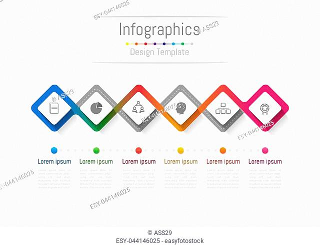 Infographic design elements for your business with 6 options, parts, steps or processes, Vector Illustration
