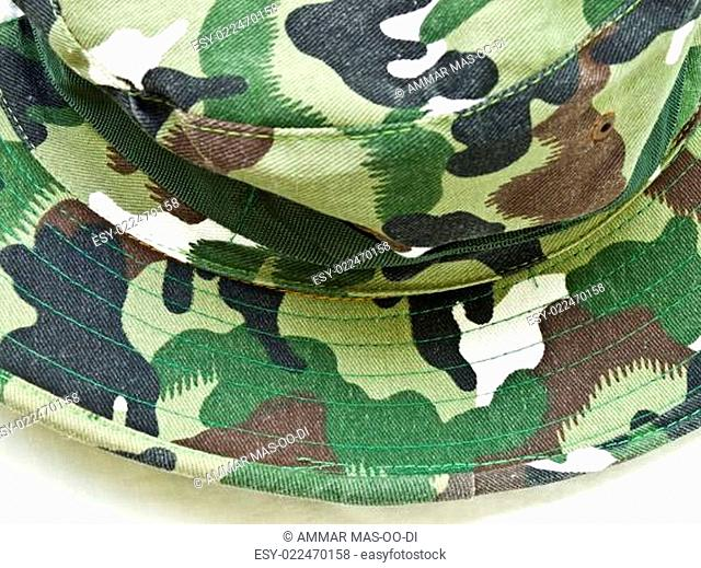 Close-up of camouflage hat isolated on white background