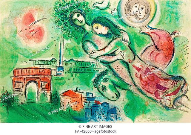 Roméo et Juliette by Chagall, Marc (1887-1985)/Colour lithograph/Modern/1964/Russia/Private Collection/64,5x100,3/Mythology