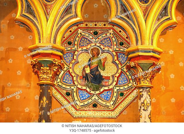 Architecture details in the palatine chapel, Sainte-Chapelle, in courtyard of royal palace in the center of Paris, France