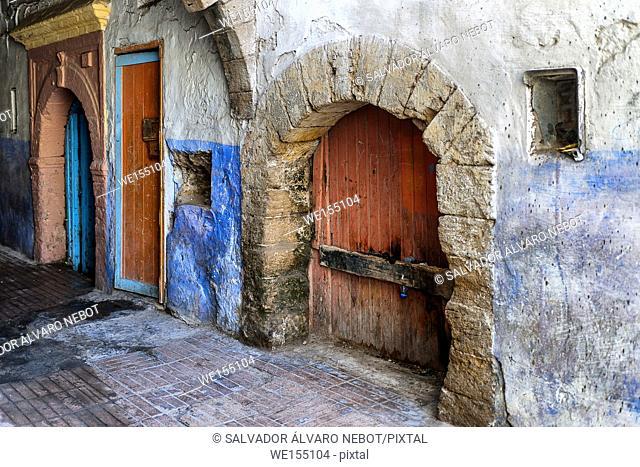 Doors in street of the Medina of Essaouira, Morocco, Africa