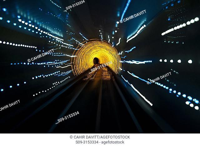 Colourful lights in the Shanghai Bund Sightseeing Tunnel, Hongkou, Shanghai, China