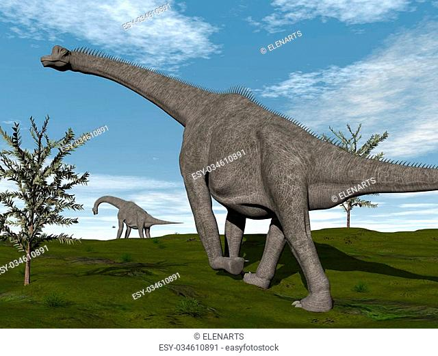 Brachiosaurus dinosaurs walking on the grass by day - 3D render