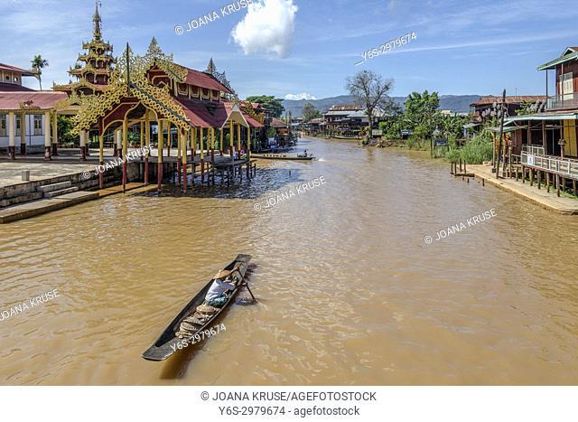 Aung Mingalar Pagoda; Ywama, Inle Lake, Nyaung Shwe, Myanmar, Asia