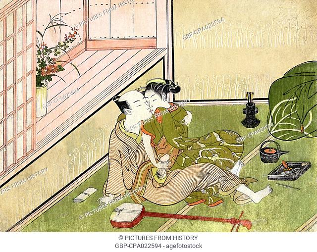 Japan: Sexual foreplay - a young couple engaged in sexual foreplay, a tea service and shamisen lying beside them on the tatami mats
