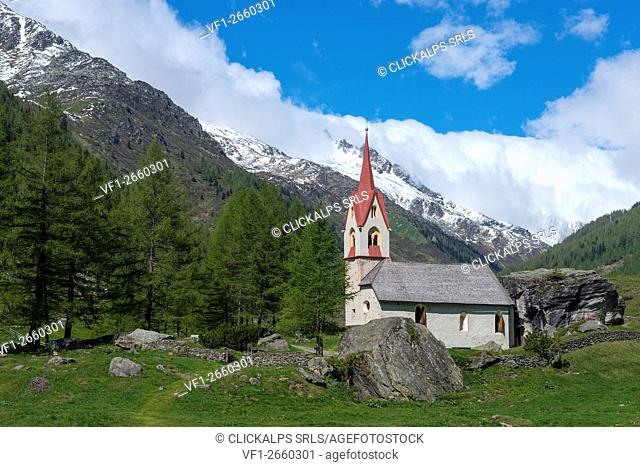 Predoi/Prettau, Aurina Valley, South Tyrol, Italy. The chapel of the Holy Spirit