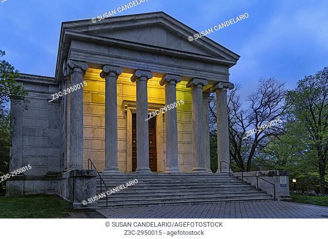Clio Hall Princeton University - A view to the illuminated iconic style Greek Temple Clio Hall during the blue hour of twilight