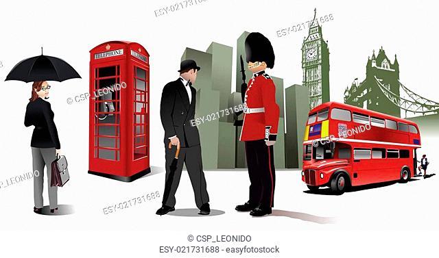 Few London images on city background